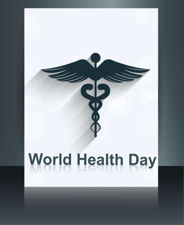 World health day brochure medical background template caduceus medical symbol reflection design vector Stock Vector - 27157580