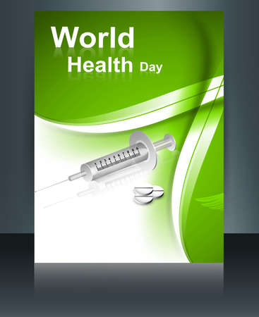 World health day brochure concept with medical symbol template reflection design colorful illustration vector Stock Vector - 27157581