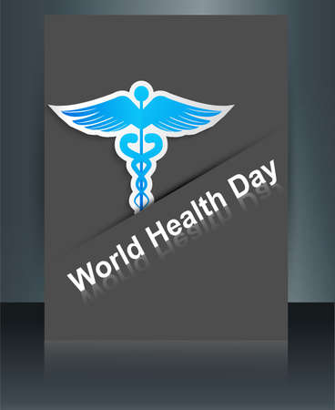 Beautiful World health day caduceus medical symbol brochure reflection background template vector Stock Vector - 27157583