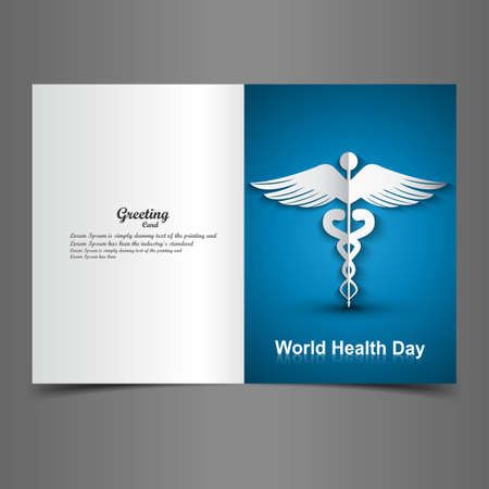 Medical background with Caduceus medical symbol presentation world health day colorful greeting card vector Vector