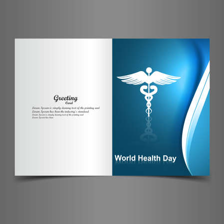 Medical symbol greeting card caduceus reflection world health day colorful vector design Stock Vector - 27157594