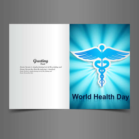 World health day greeting card beautiful caduceus medical symbol illustration vector Vector