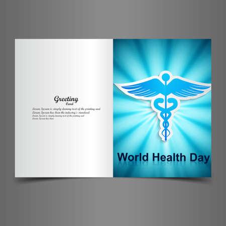 scepter: World health day greeting card beautiful caduceus medical symbol illustration vector