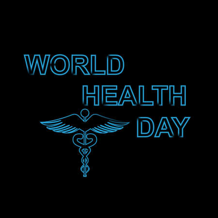 World health day text concept medical black colorful background on caduceus medical symbol vector Stock Vector - 27154730