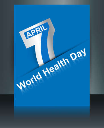Beautiful text 7 April world health day reflection brochure background template vector Vector