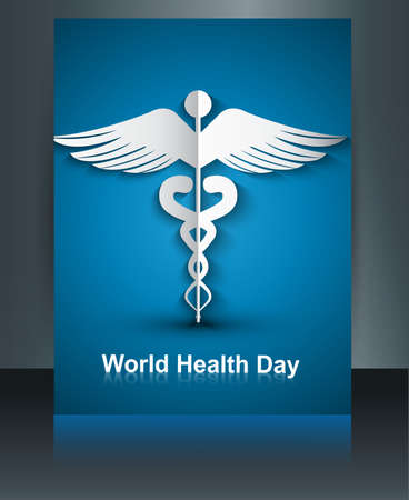 Medical template with brochure Caduceus medical symbol world health day background reflection vector  Stock Vector - 27154736