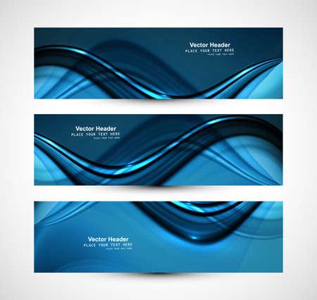 아름 다운 비즈니스 헤더 블루 반짝이 세련된 웨이브 디자인 벡터
