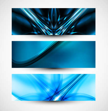 Abstract three header set blue business wave whit vector  Vector