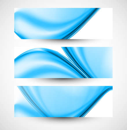 whit: Abstract stylish blue wave three  header set whit vector background Illustration
