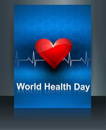 World health day template brochure with heart beats medical colorful design vector illustration Illustration