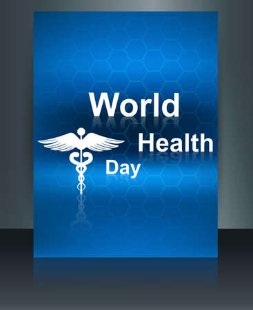 World health day vector concept medical background brochure on caduceus medical symbol design template  Stock Vector - 27154532