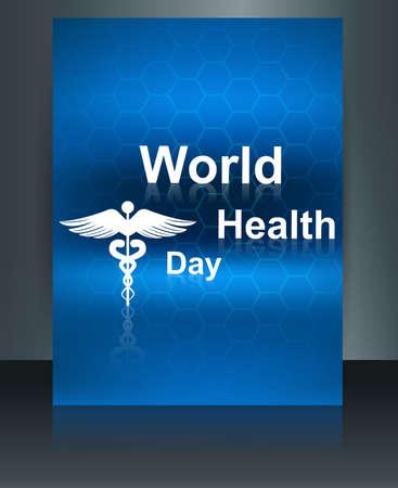 World health day vector concept medical background brochure on caduceus medical symbol design template Stock Vector - 27154532