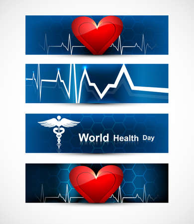 Beautiful world health day four headers set medical symbol colorful vector design Stock Vector - 27154535