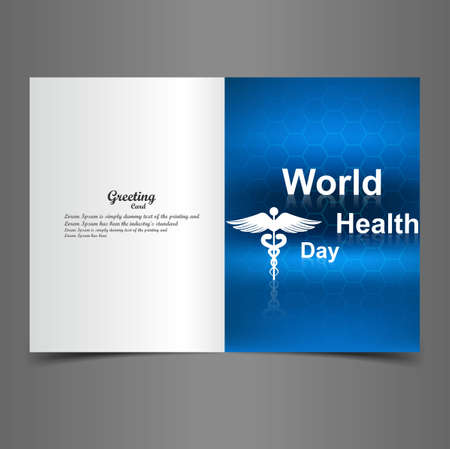 World health day caduceus medical symbol greeting card blue colorful illustration design vector Stock Vector - 27154538