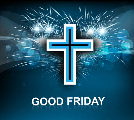Good Friday for Jesus cross on blue colorful background vector  Illustration