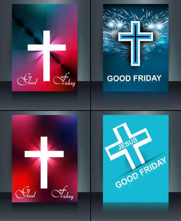 j�sus croix: Bon vendredi brochure mod�le carte de collection pour la croix de J�sus vecteur color�