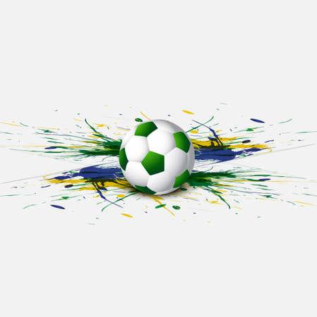 아름다운 브라질 국기 개념 그런 지 카드 화려한 축구 배경 벡터