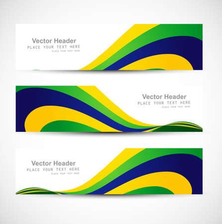 brazil flag: Header set brazil flag colors three colorful wave illustration vector Illustration