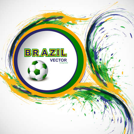 Beautiful Soccer background with Brazil colors grunge stylish wave splash. illustration vector