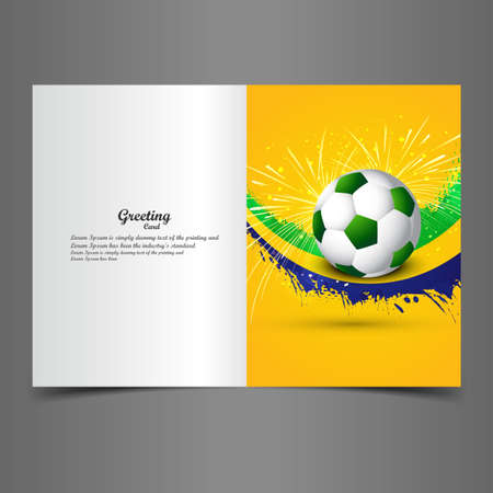 greeting card background: Beautiful Brazil colors concept shiny soccer ball  greeting card background