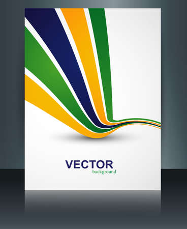 flag template: Beautiful Brazil flag template brochure wave concept reflection colorful background