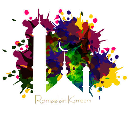 Ramadan kareem card with nice grungy colorful mosque and white Background vector