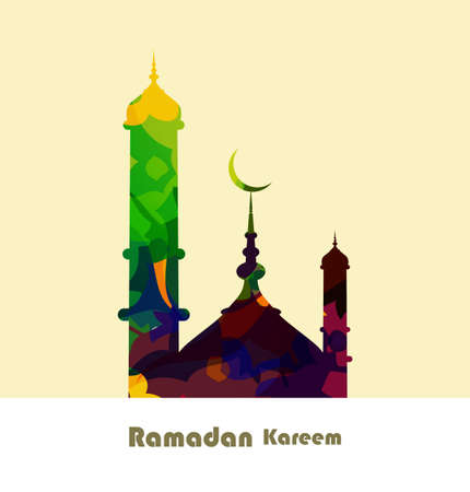 Ramadan kareem card grungy colorful mosque background illustration vector Vector