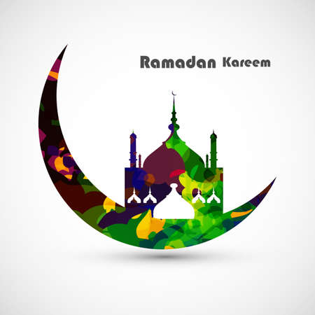 masjid: Ramadan kareem card moon concept for grungy colorful mosque and white Background vector