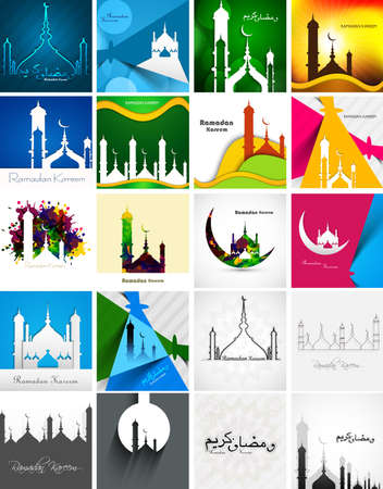islamic pray: Mosque with colorful Ramadan Kareem collection card set presentation background vector illustration