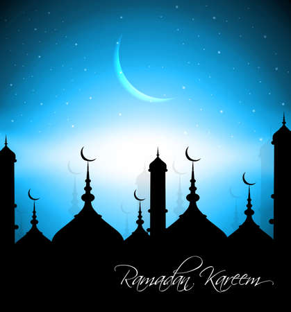 Beautiful mosque with bright colorful Ramadan Kareem on blue background vector Vector