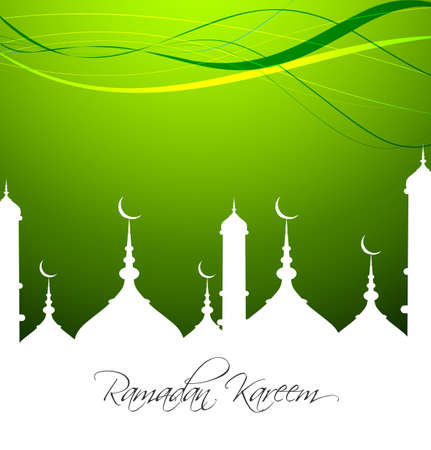 Mosque with bright colorful Ramadan Kareem on green background vector Vector