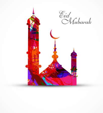 Moskee voor grunge kleurrijke eid mubarak kaart vector illustratie