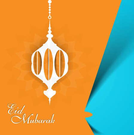 Eid mubarak celebration beautiful arabic lamp creative colorful vector  Illustration