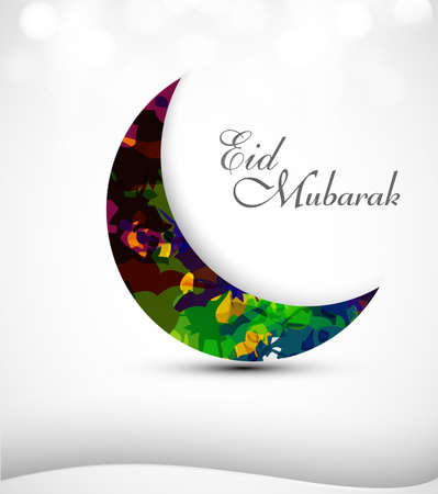 Eid mubarak card moon concept for colorful grunge vector design