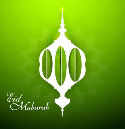ramzan: Eid mubarak celebration beautiful arabic lamp green colorful vector background
