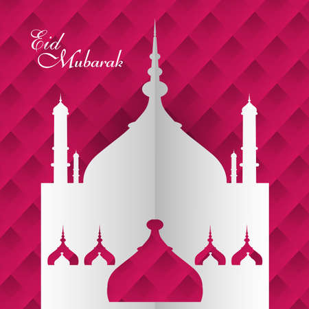Eid Mubarak mosque festival for beautiful colorful card background Vector
