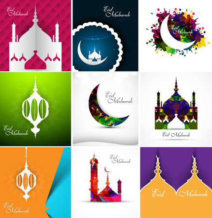Mosque with colorful eid mubarak collection card set beautiful background vector Vector