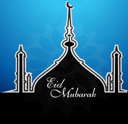 Mosque with shiny blue colorful eid mubarak background vector illustration Vector