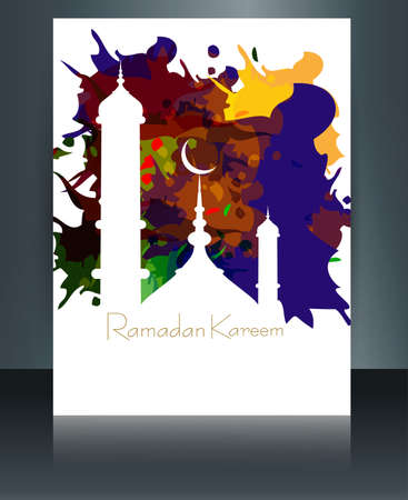 Ramadan kareem card brochure reflection grungy colorful template mosque and white background Vector