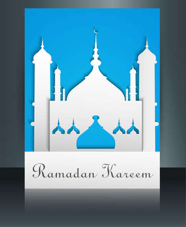 Mosque or Masjid with text Ramadan Kareem brochure reflection colorful template vector Illustration Vector