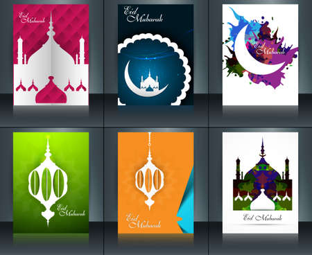 Mosque with colorful eid mubarak brochure reflection collection card set template beautiful vector Vector