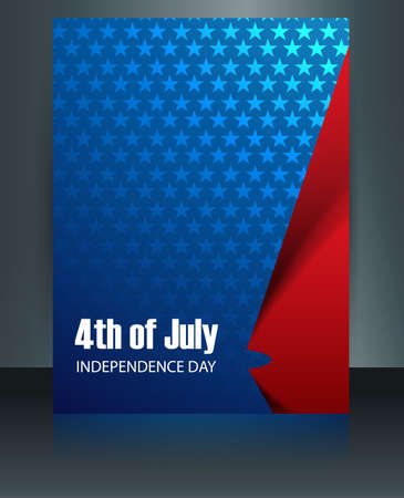 flag template: Beautiful American Flag template 4th of july brochure reflection Illustration