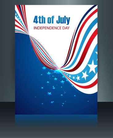 flag template: American flag template independence day present reflection brochure card background Illustration