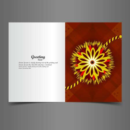 tied girl: Vector Indian festival greeting card Raksha Bandhan colorful rakhi  Illustration