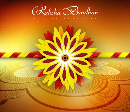 raksha: Bella ed elegante Rakhi sul raksha bandhan luminoso colorato sfondo vettoriale