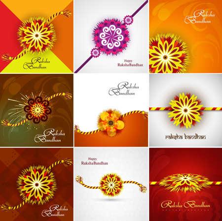 bahan: Beautiful Raksha bandhan celebration Presentation card set collection colorful background vector Illustration