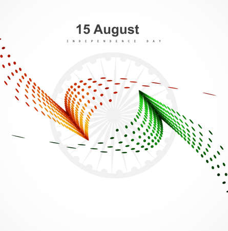 15th of August  Indian Independence Day stylish wave halftone colorful flag design Vector