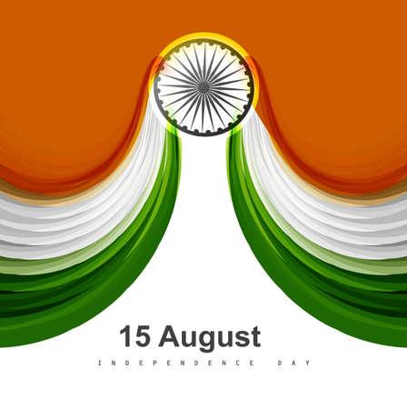 Beautiful stylish Indian flag fantastic tricolor wave design Illustration