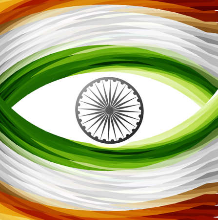 Stylish tricolor indian flag wave colorful design vector Vector