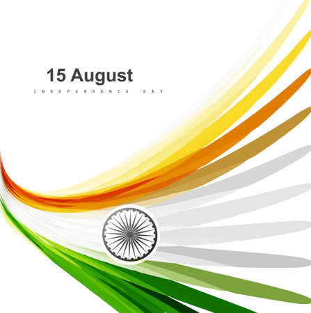 Indian flag colorul stylish design for Indian independence day vector
